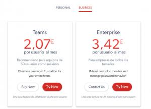 Tarifas servicios para empresas de LastPass