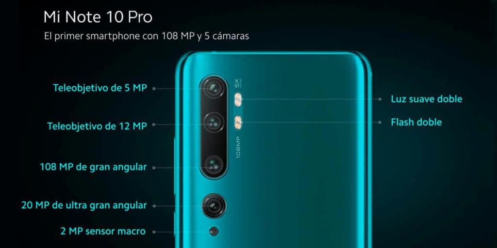 5 cámaras del Xiaomi Mi Note 10